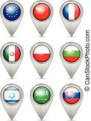 Map marker national flag set