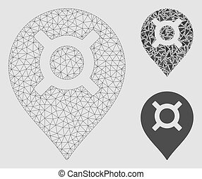 Map Marker Vector Mesh Carcass Model and Triangle Mosaic Icon
