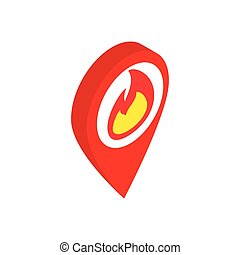Map marker with a flame isometric 3d icon