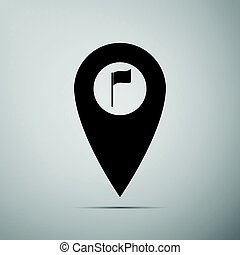 Map marker with a golf flag icon on grey background. Adobe illustrator