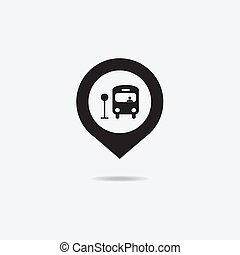 Map marker with Bus icon.