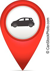 Map marker with car symbol on a white background.
