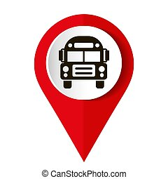 Map marker with icon of a bus, vector illustration