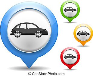 Map marker with icon of a retro car, vector eps10 ...