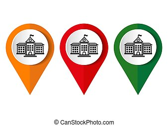 Map marker with icon of a school vector illustration
