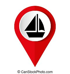 Map marker with icon of a ship, vector illustration
