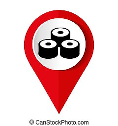 Map marker with icon of a sushi rolls vector illustration