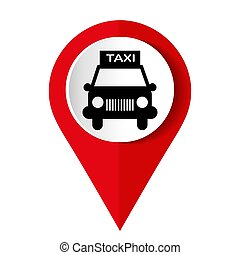 Map marker with icon of a taxi, vector illustration