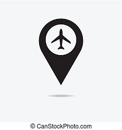 Map marker with icon of airplane, vector eps10 illustration