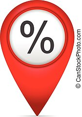 Map marker with percentage symbol
