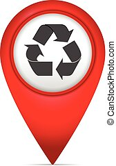 Map marker with recycling symbol