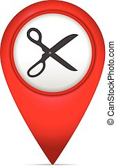 Map marker with scissors symbol
