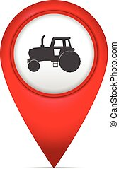 Map marker with tractor symbol