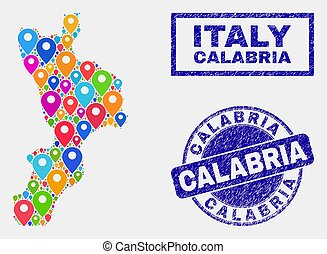 Map Markers Collage of Calabria Region Map and Grunge Stamp...