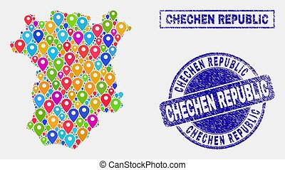 Map Markers Collage of Chechen Republic Map and Textured...