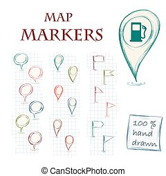 Map markers - Hand drawn map markers. Vector illustration.