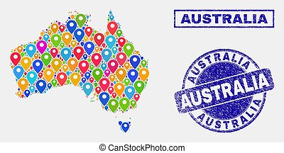 Map Markers Mosaic of Australia Map and Distress Stamps
