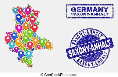 Map Markers Mosaic of Saxony-Anhalt Land Map and Grunge Stamp Seals