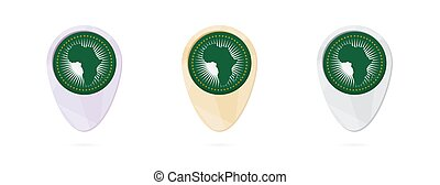 Map markers with flag of African Union, 3 color versions.