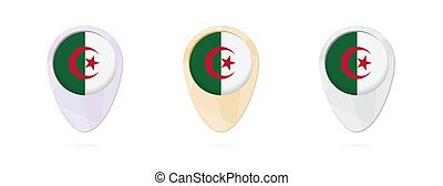 Map markers with flag of Algeria, 3 color versions.