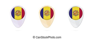 Map markers with flag of Andorra, 3 color versions.