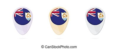 Map markers with flag of Anguilla, 3 color versions.