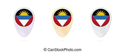 Map markers with flag of Antigua and Barbuda, 3 color...