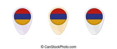 Map markers with flag of Armenia, 3 color versions.