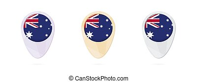 Map markers with flag of Australia, 3 color versions.