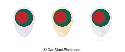Map markers with flag of Bangladesh, 3 color versions.
