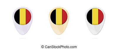 Map markers with flag of Belgium, 3 color versions.