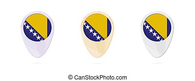 Map markers with flag of Bosnia and Herzegovina, 3 color...