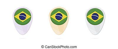 Map markers with flag of Brazil, 3 color versions.