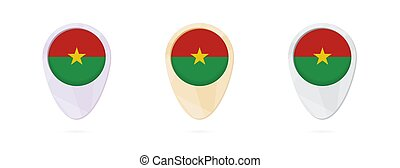 Map markers with flag of Burkina Faso, 3 color versions.