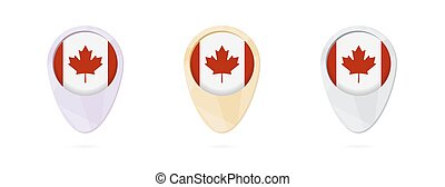 Map markers with flag of Canada, 3 color versions.