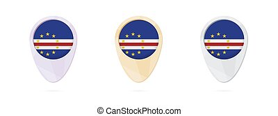 Map markers with flag of Cape Verde, 3 color versions.