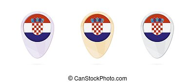 Map markers with flag of Croatia, 3 color versions.