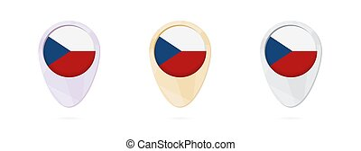 Map markers with flag of Czech Republic, 3 color versions.