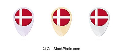 Map markers with flag of Denmark, 3 color versions.