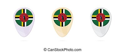 Map markers with flag of Dominica, 3 color versions.