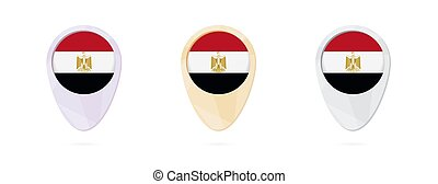 Map markers with flag of Egypt, 3 color versions.