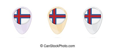 Map markers with flag of Faroe Islands, 3 color versions.