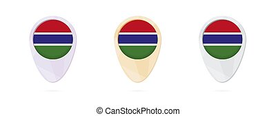 Map markers with flag of Gambia, 3 color versions.