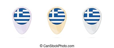 Map markers with flag of Greece, 3 color versions.