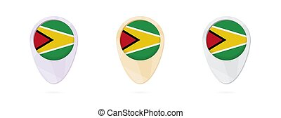 Map markers with flag of Guyana, 3 color versions.
