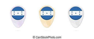 Map markers with flag of Honduras, 3 color versions.