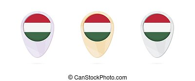 Map markers with flag of Hungary, 3 color versions.