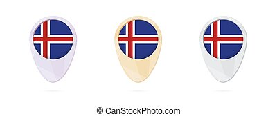 Map markers with flag of Iceland, 3 color versions.
