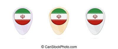 Map markers with flag of Iran, 3 color versions.