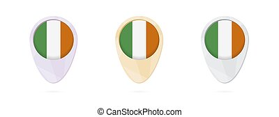 Map markers with flag of Ireland, 3 color versions.